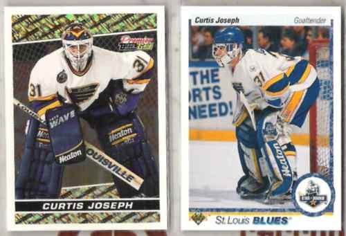CURTIS JOSEPH 1990 UD Rookie + 94 Topps Black GOLD Insert.  BLUES