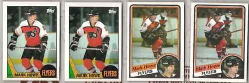 MARK HOWE (4) Lot w/ (2) 1984 + (2) 1987 Topps