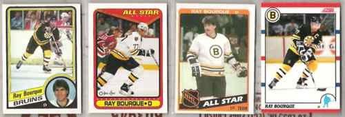 RAY BOURQUE (4) Lot w/ (2) 1984 Topps, 90 Score + OPC
