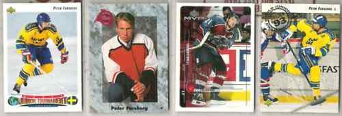 PETER FORSBERG (4) Lot w/ 1991 Classic, 92 UD World Jrs