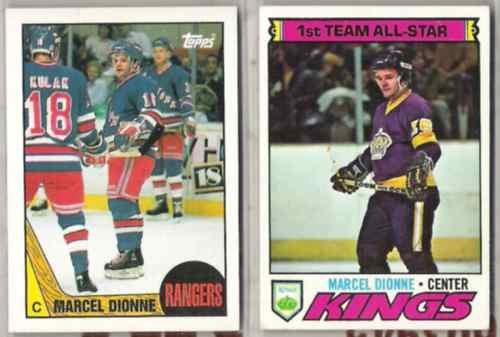 MARCEL DIONNE (2) Lot w/ 1977 + 1987 Topps - LA + NYR