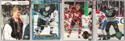CHRIS PRONGER (4) Lot w/ 1992 Upper Deck Sweden++