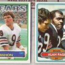 JIM McMAHON 1983 Topps + ALAN PAGE 1980 Topps - BEARS