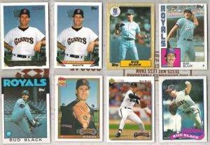 (8) BUD BLACK Baseball Card Lot w/ 80's + 93 Gold Ins.+