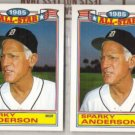 SPARKY ANDERSON (2) 1986 Topps AS Glossy #1 of 22.  TIGERS