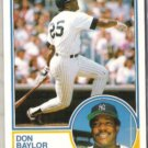 DON BAYLOR 1983 Topps Traded #8T.  YANKEES