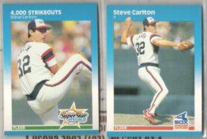 STEVE CARLTON (2) 1987 Fleer #635 + #490.  WHITE SOX
