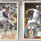 MIKE FLANAGAN (2) Card Lot:  1982 + 1983 Topps.  ORIOLES