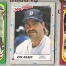KIRK GIBSON 1986, 87 + 88 Fleer Star Stickers.  TIGERS