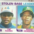 RICKEY HENDERSON 1982 Topps SB Leaders w/ Raines