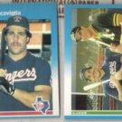 PETE INCAVIGLIA 1987 Fleer #128 + w/ Canseco #625.  RANGERS