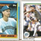 RANDY JOHNSON 1990 Topps #431 + Upper Deck #563.  MARINERS