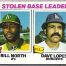 DAVE LOPES 1977 Topps Leaders #4 w/ B. North.  DODGERS