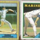 MARK LANGSTON 1987 + 1988 Topps. MARINERS