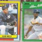 ALAN MILLS 1990 Topps Traded + 1990 Donruss RC.  YANKEES