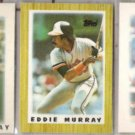 EDDIE MURRAY 1986, 1987, + 1989 Topps minis.  ORIOLES