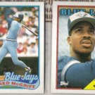 FRED McGRIFF 1988 + 1989 Topps.  BLUE JAYS