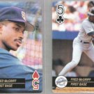 FRED McGRIFF (2) 1992 Aces 5 of Hearts + Clubs.  BLUE JAYS