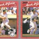 MARK McGWIRE (2) 1990 Donruss #697 + #185.  A's