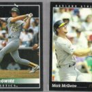 MARK McGWIRE 1992 Pinnacle + 1993 Pinnacle.  A's