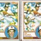JIM PALMER 1983 Topps #490 + OPC #299.  ORIOLES