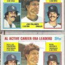 JIM PALMER (2) 1984 Topps Leaders #717 w/ Guidry, Fingers.  ORIOLES
