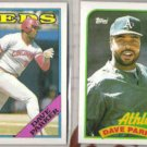 DAVE PARKER 1988 + 1989 Topps.  REDS / A's