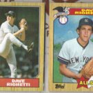 DAVE RIGHETTI 1987 Topps #40 + #616 All Star.  YANKEES