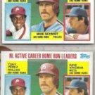 MIKE SCHMIDT (2) 1984 Topps #703 w/ Kingman + Perez.  PHILLIES
