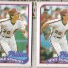 MIKE SCHMIDT (2) 1989 Topps #100.  PHILLIES