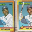 GREG VAUGHN (2) 1990 Topps Future Star #57.  BREWERS