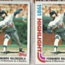 FERNANDO VALENZUELA (2) 1982 Topps HL #6.  DODGERS