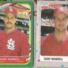 TODD WORRELL 1987 + 1988 Fleer Star Stickers.  CARDS