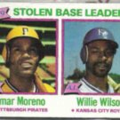 WILLIE WILSON 1980 Topps Leaders #204 w/ Moreno.  ROYALS