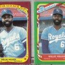 WILLIE WILSON 1986 + 1987 Fleer Star Stickers.  ROYALS