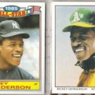 RICKEY HENDERSON 1986 Topps AS Glossy + 1990 Score DT.  NYY  A's