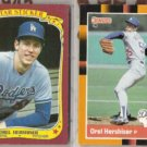 OREL HERSHISER 1986 Fleer Sticker + 1988 Donruss Best.  DODGERS