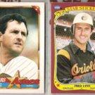 FRED LYNN 1990 Topps Ames + 1986 Fleer Sticker.  PADRES / ORIOLES