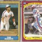 TIM RAINES 1987 Topps + 1986 Fleer Star Sticker.  EXPOS