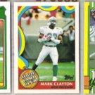 MARK CLAYTON 1988, 89 + 90 Topps 1000 Yd. Club.  DOLPHINS