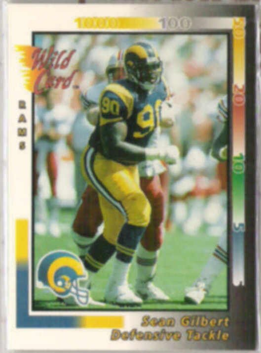 SEAN GILBERT 1992 Wild Card #385.  RAMS
