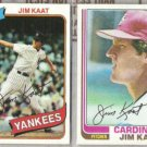 JIM KAAT 1980 + 1982 Topps.  NYY / St. L