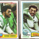 HERMAN EDWARDS 1981 + 1982 Topps.  EAGLES