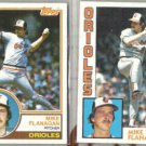 MIKE FLANAGAN 1983 + 1984 Topps.  ORIOLES