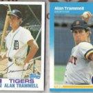 ALAN TRAMMELL 1982 Topps + 1987 Fleer. TIGERS