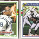 ERIC DICKERSON (2) 1989 Topps #206 + #3.  COLTS