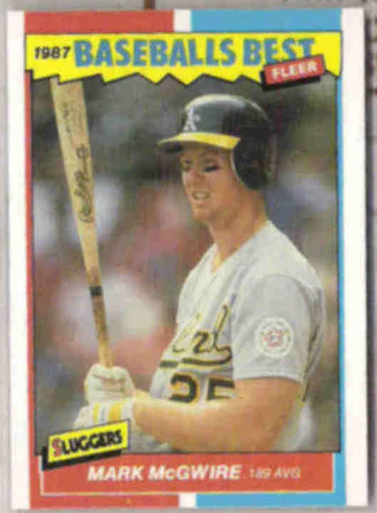 MARK McGWIRE 1987 Fleer Best Rookie #26 of 44.  A's