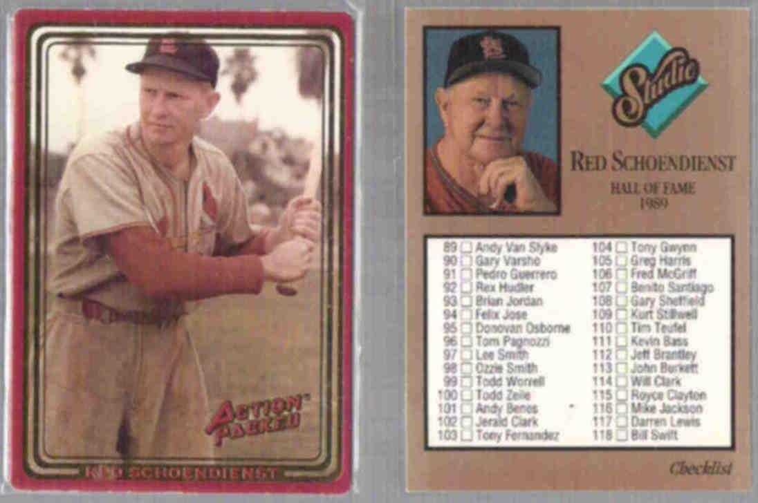 RED SCHOENDIENST (2) Card Lot 1990 AP + 1992 Studio.  CARDS