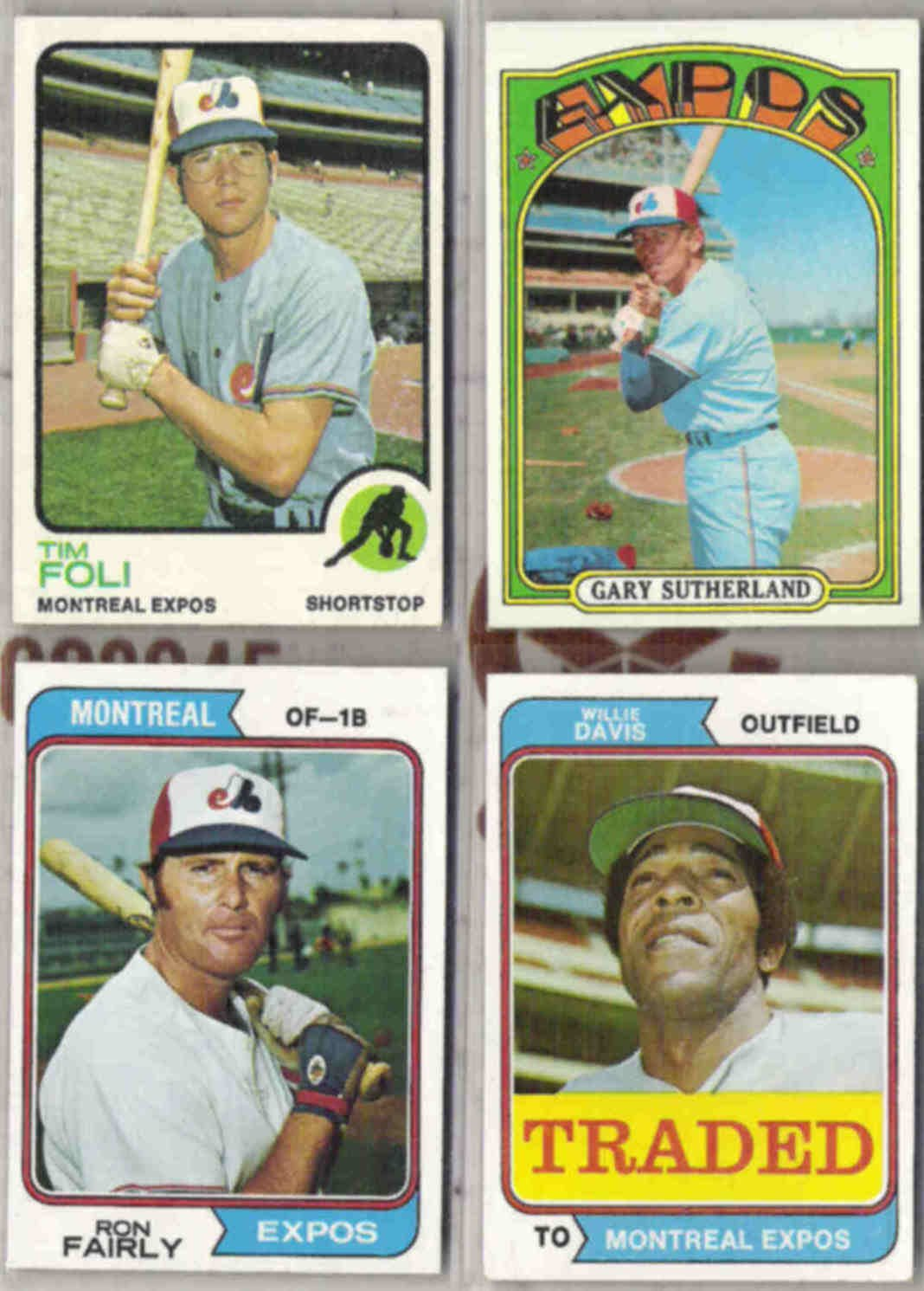 VINTAGE MLB EXPOS (4) Card Lot - 1972 - 74.