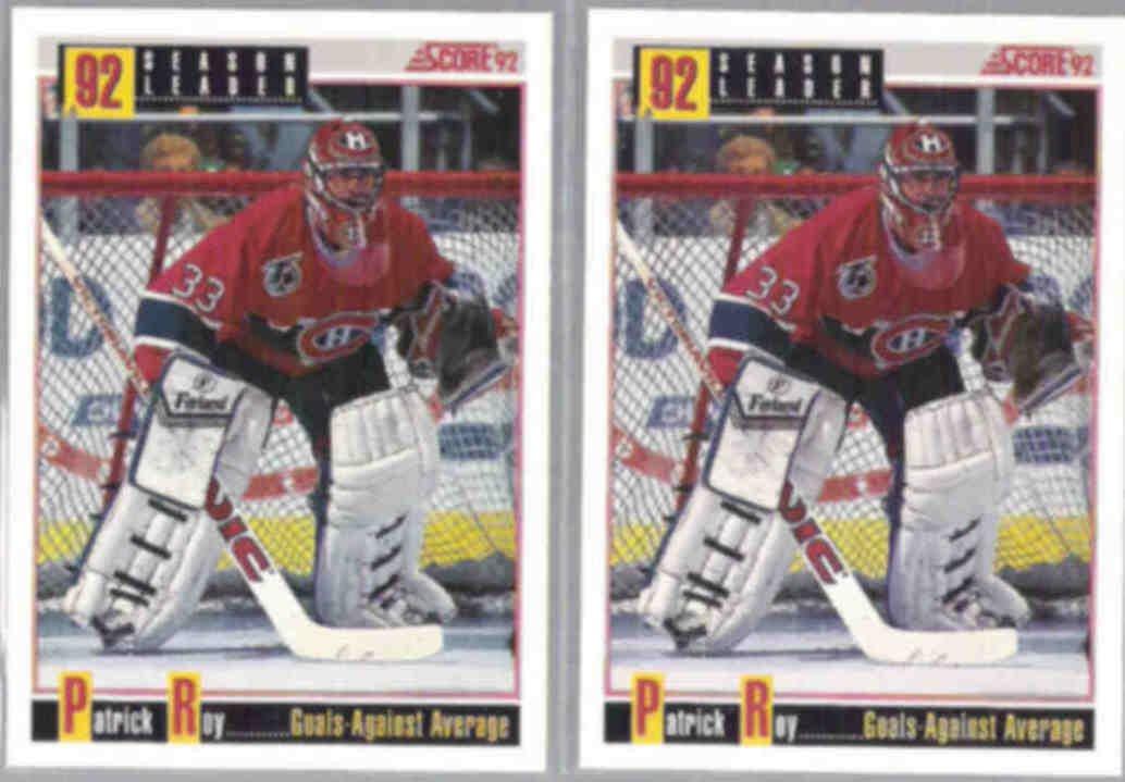 PATRICK ROY (2) 1993 Score Leader #418.  CANADIENS